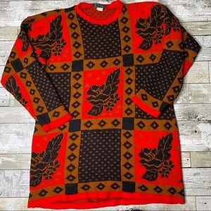 Vintage knit cottagecore rose panel sweater
